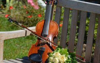 Violin on bench with flowers